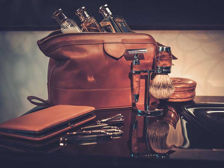 A washbag filled with essential grooming accoutrements for gentlemen