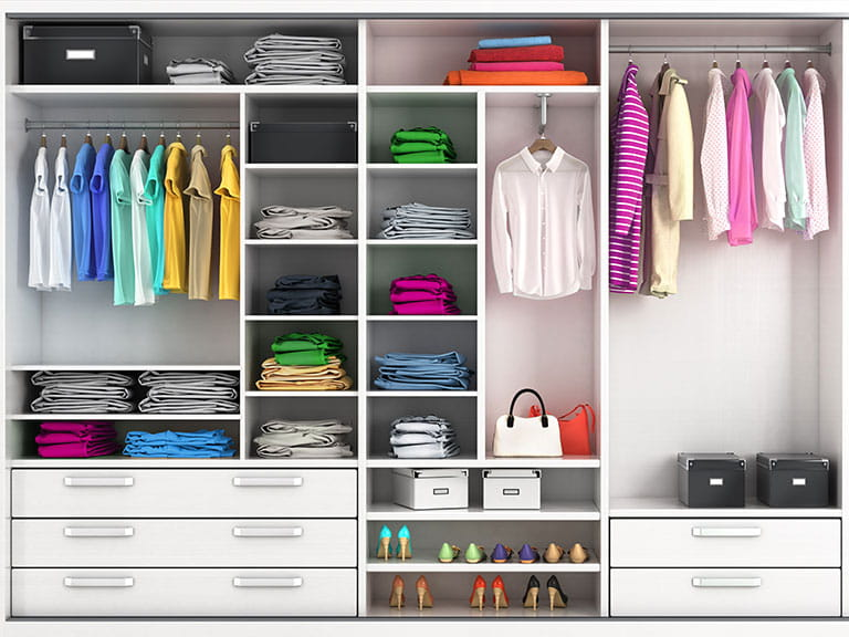 A tidy wardrobe to represent having decluttered