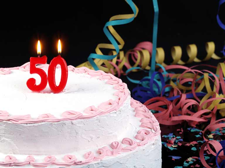 Birthday cake with 50 candles