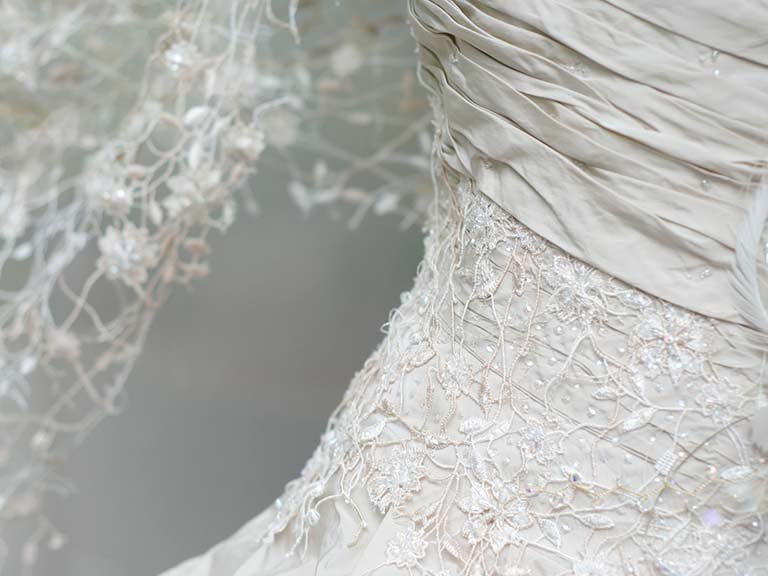 A lacy, vintage wedding dress for the older bride