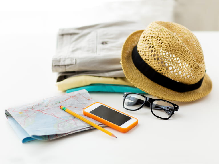 Travel accessories and a mobil phone