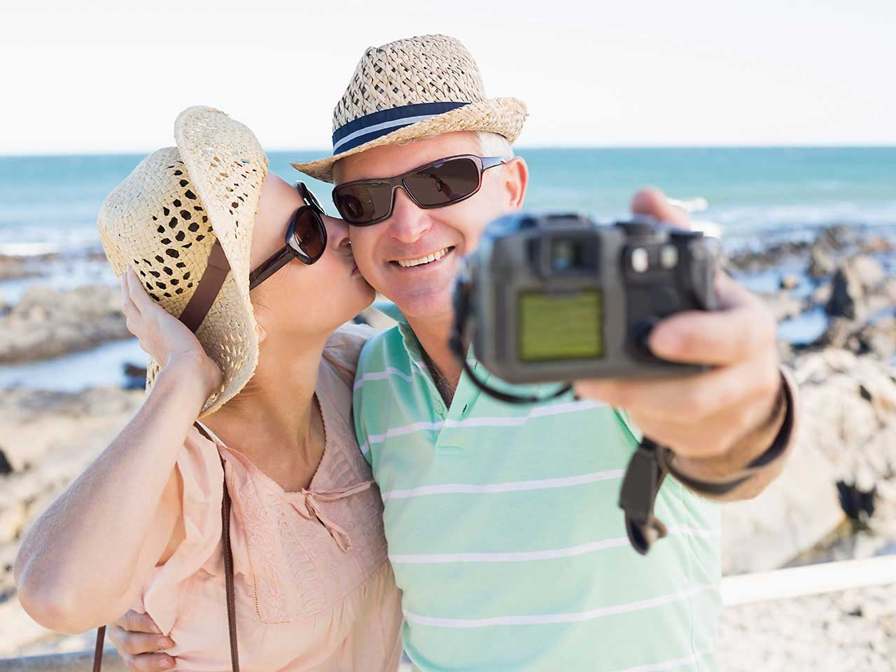 Couple taking a digital photo