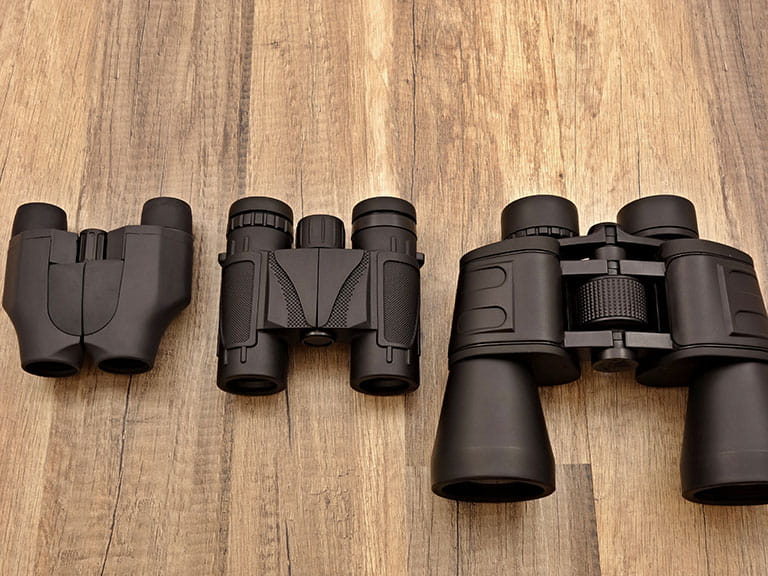 Three different types of binoculars
