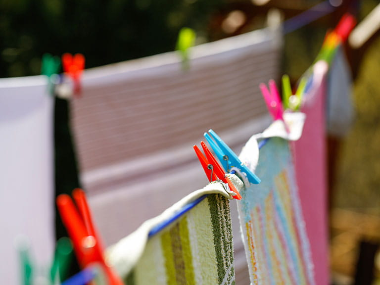 Colourful washing on a line