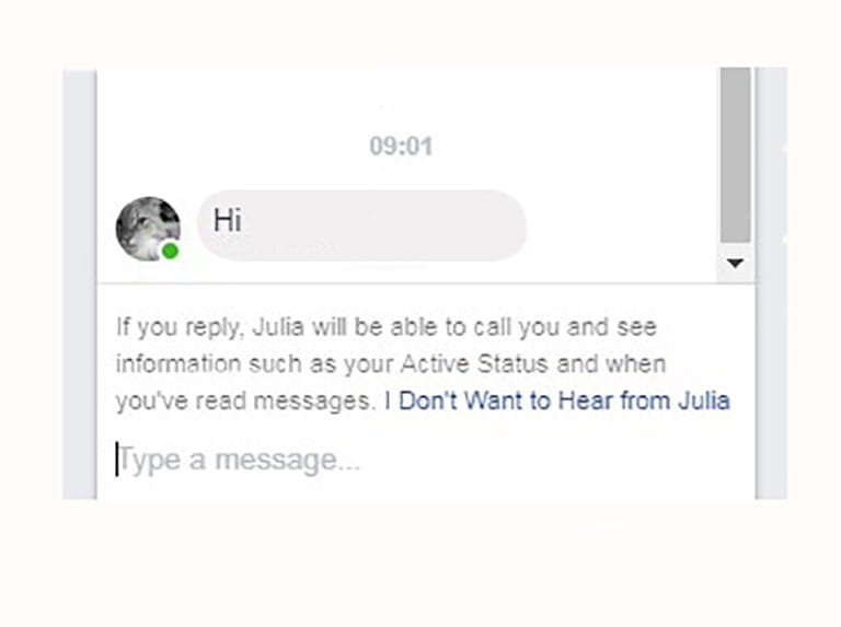 A message sent via Facebook Messenger from someone who is not on your Facebook friends list - a screenshot