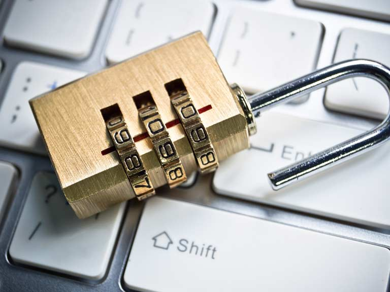 Padlocks to represent online security