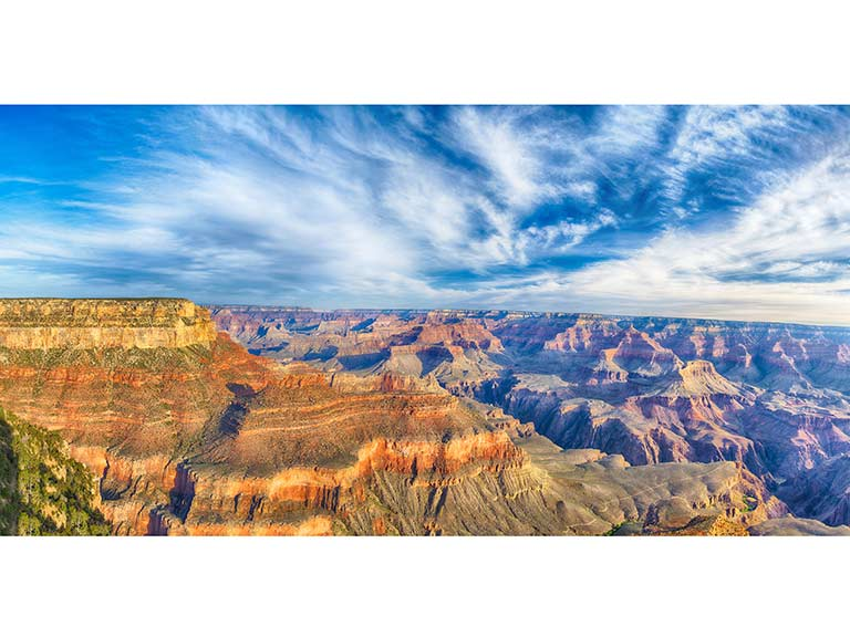 A panoramic shot of the Grand Canyon