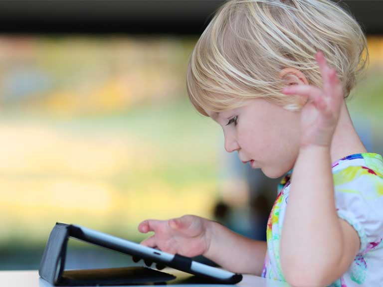 Child using an iPad