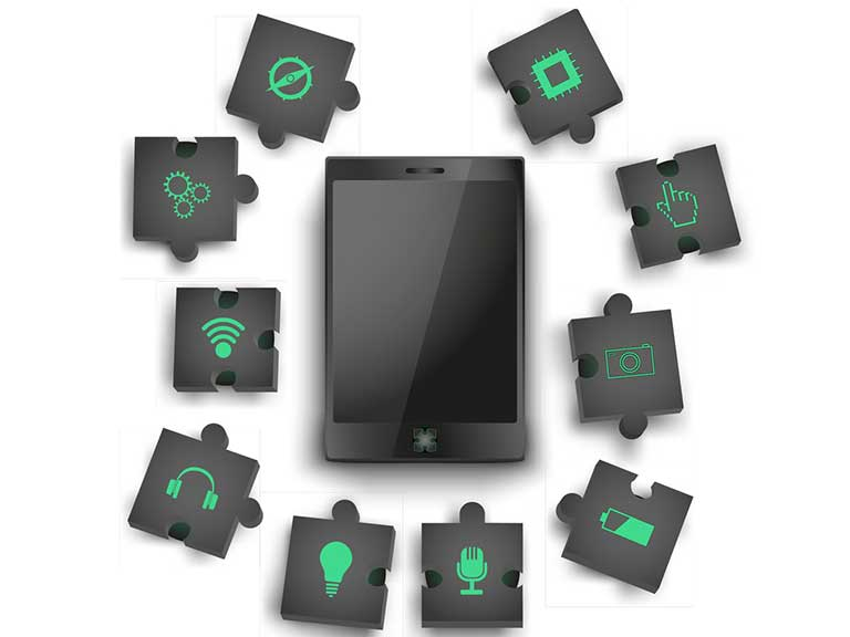 Individual components represented by jigsaw pieces can be slotted into the main body of a modular phone, so you can customise it to suit your needs.