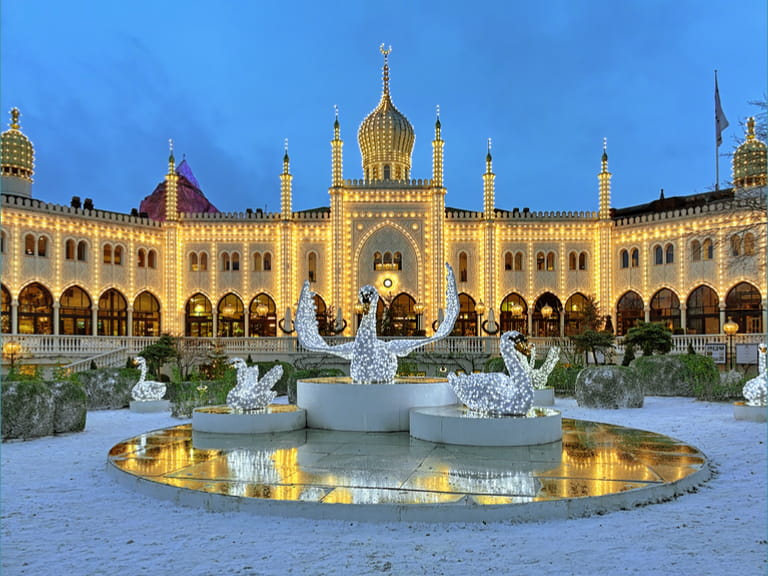 The Christmas installation with Swans in front of the Moorish Palace in Tivoli Garden, Copenhagen