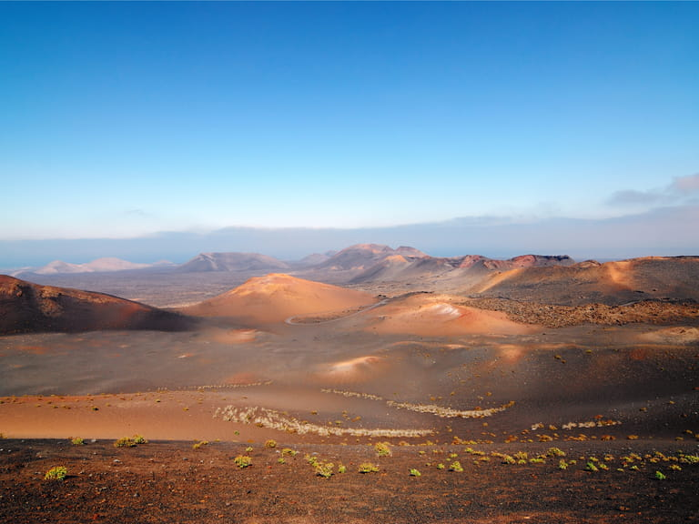 Mountains of fire Timanfaya National Park at morning time, Lanzarote, Spain