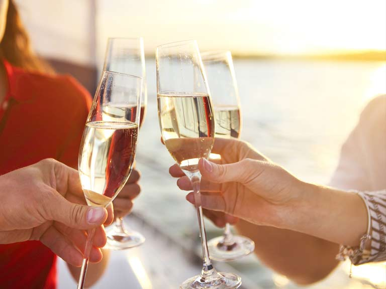 Drinking Champagne on a cruise