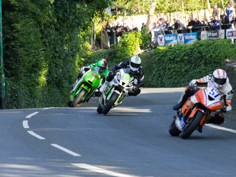 Motorcycles during the Isle of Man TT race