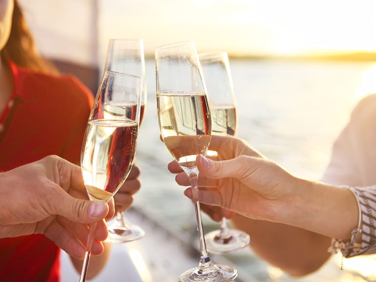 Couple toasting champagne on a cruise.