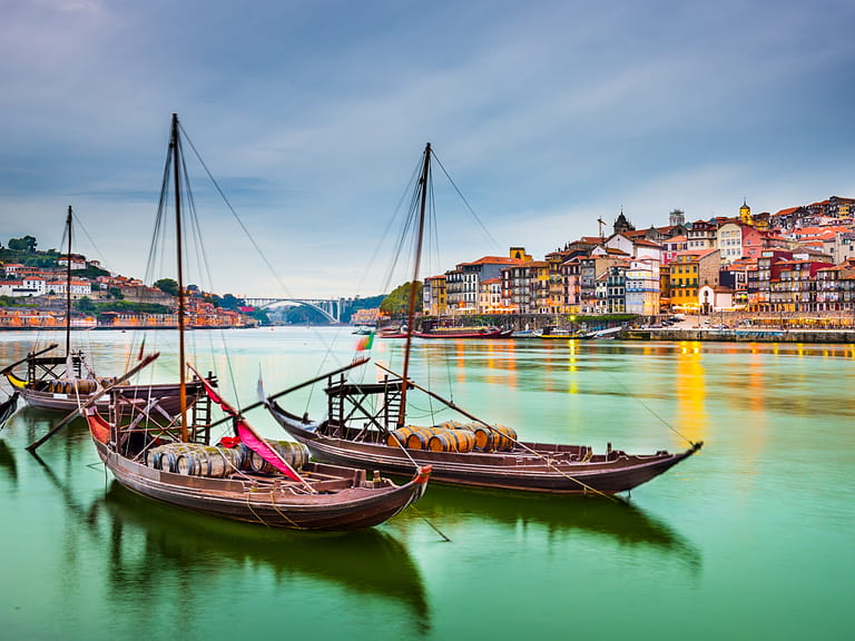 Traditional Rabelo boats on the Douro river in Oporto