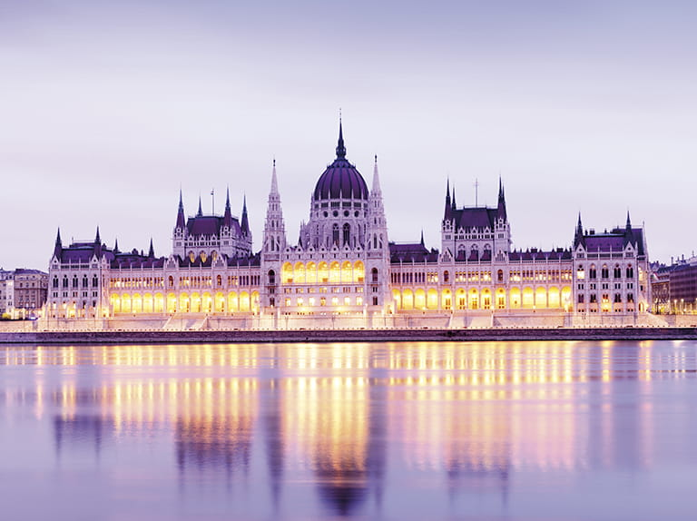 The Hungarian parliament building on the river Danube