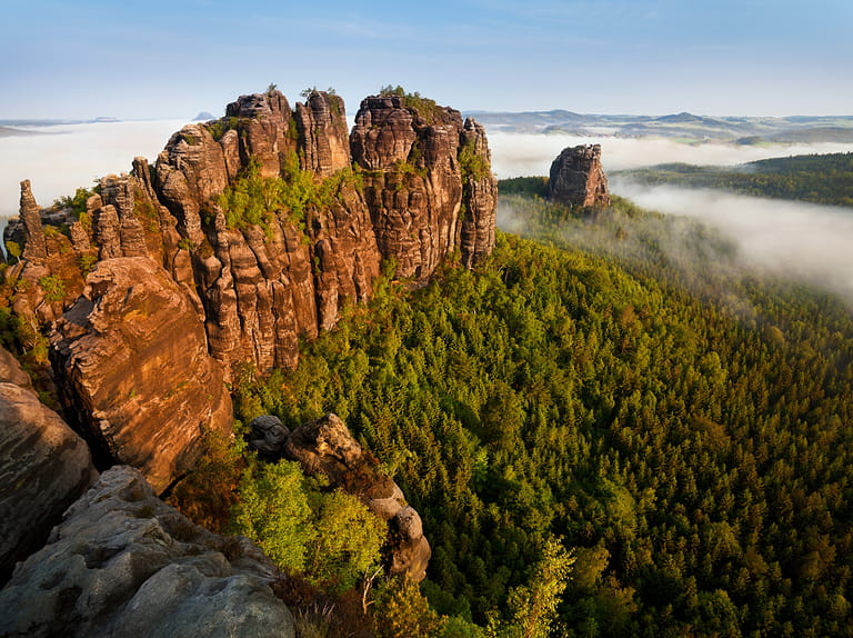 Elbe Sandstone Mountains in Germany with the Albrechtsburg castle