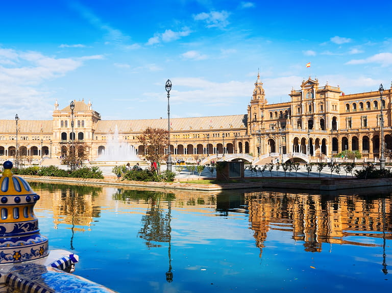 View of Plaza de Espana, in Seville, Spain