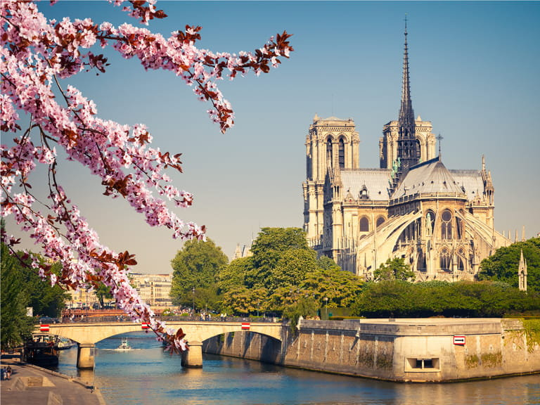 Notre Dame de Paris in spring, France