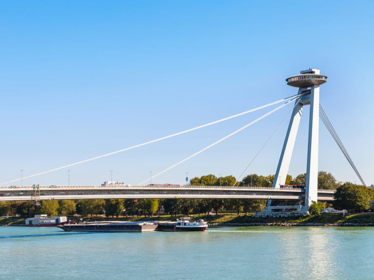 The UFO Observation Deck and Bridge in Bratislava