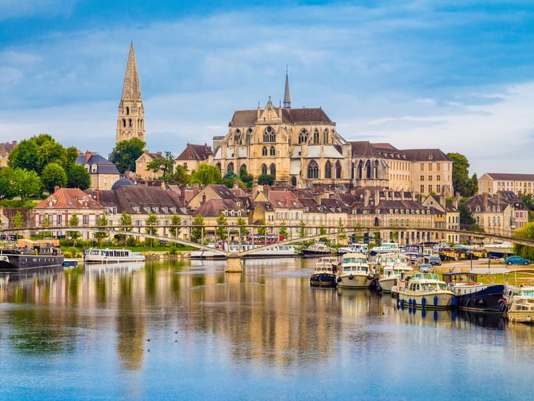 Beautiful view of the historic town of Auxerre with Yonne river, Yonne department, Burgundy, France