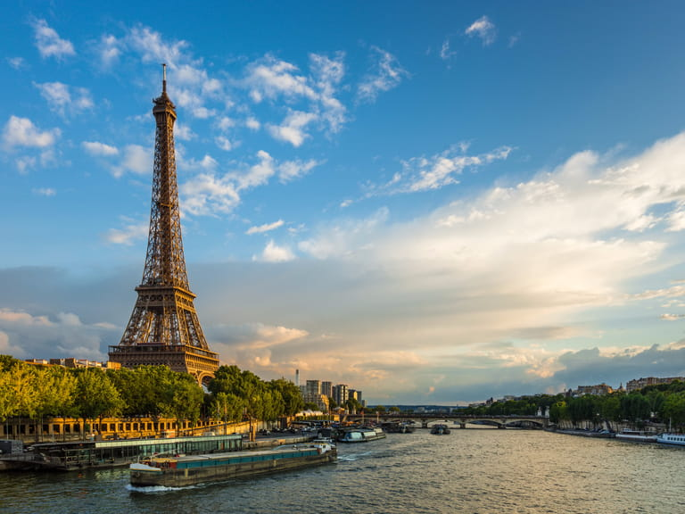 The Eiffel Tower on the River Seine in Paris, France