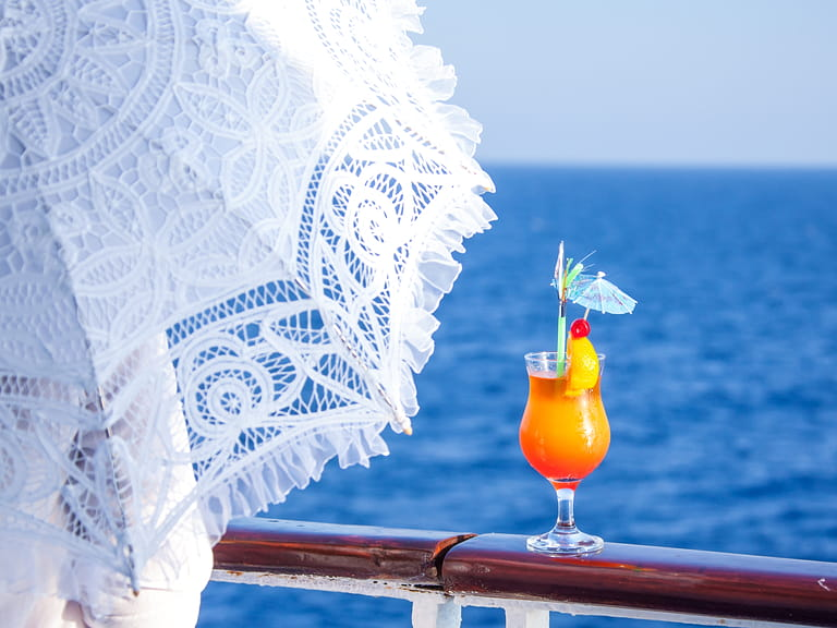 A cocktail on the deck of a cruise ship