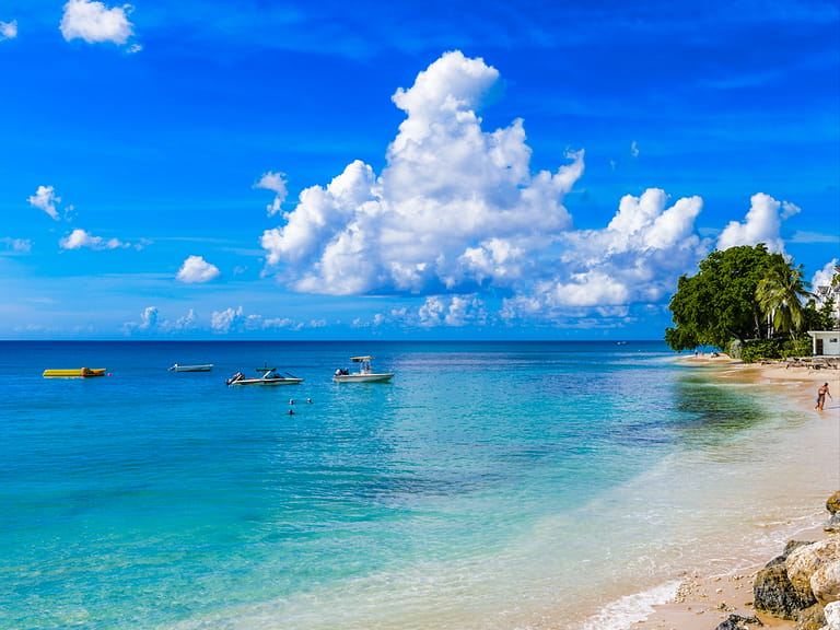 Caribbean sea off the coast of Bridgetown, Barbados=