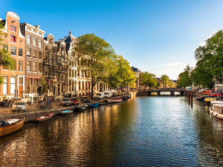 Beautiful sunshine over an Amsterdam canal