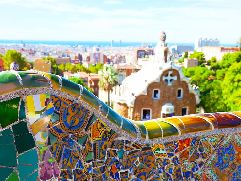Views from the Park Guell designed by Antoni Gaudi Barcelona Spain