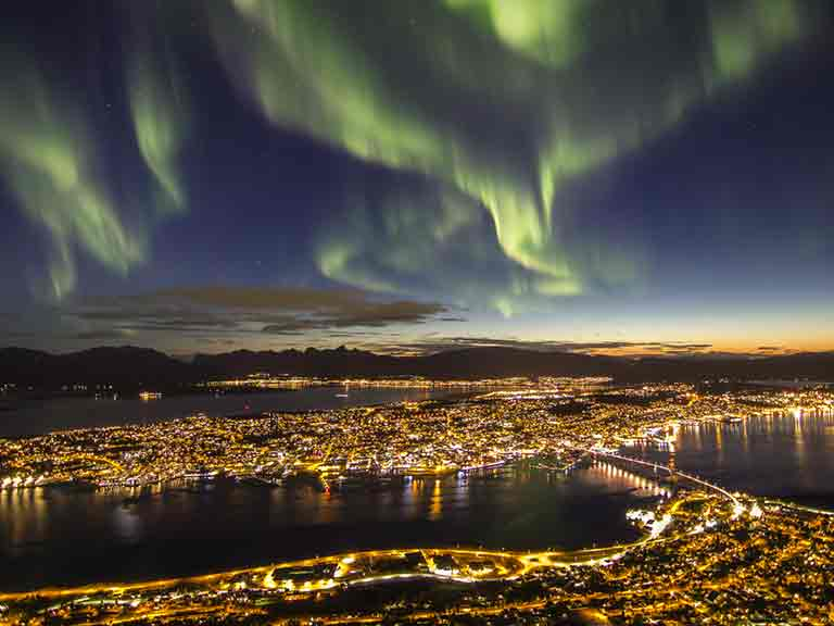 The Northern Lights above Tromso in Norway