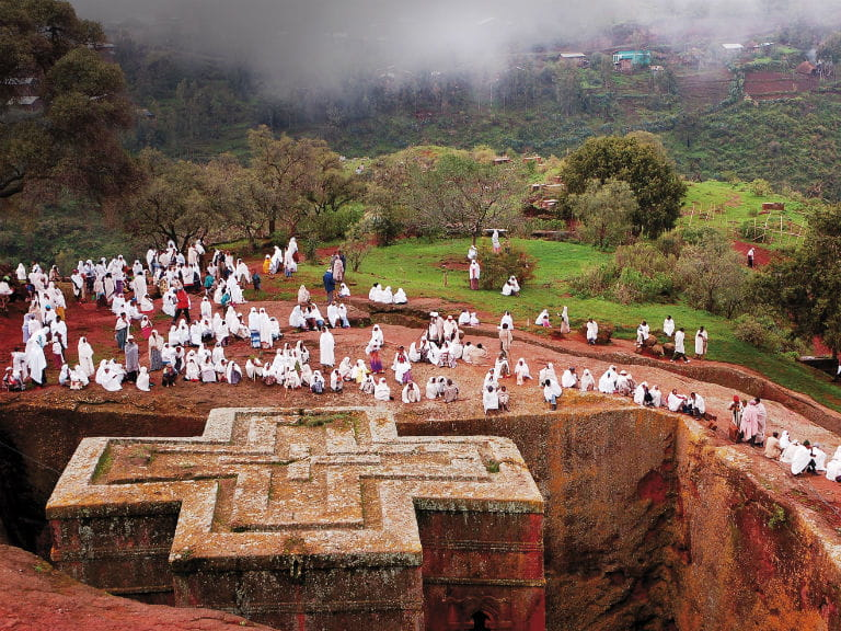 Bete Giyorgis (Church of Saint George) a rock-hewn church of in Lalibela, Ethiopia
