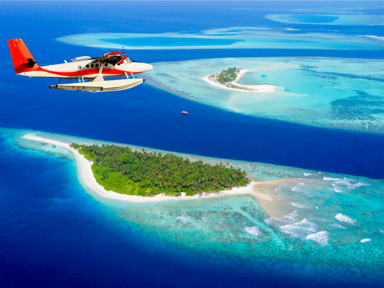 Aerial view of the Maldives from above
