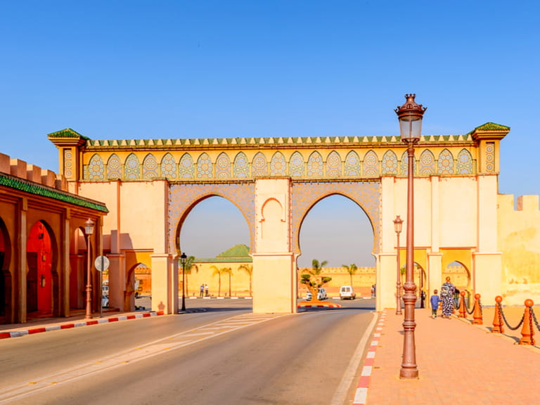 bab mansour gate and el hedime place in meknes