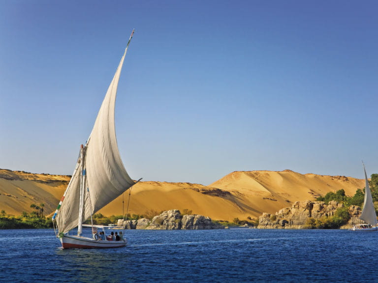 A sailing boat on the Nile River in Egypt