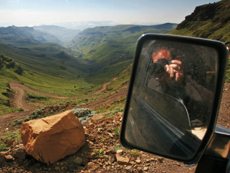 View from the passenger's seat of the Sani Pass, South Africa