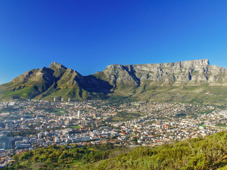 Table Mountain overlooking Cape Town below