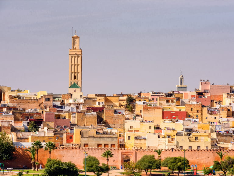 Panoramic view of Meknes, a city in Morocco which was founded in the 11th century by the Almoravids as a military settlement
