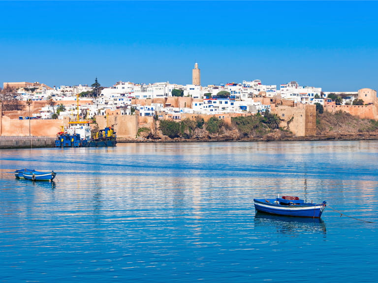 River Bou Regreg seafront and Kasbah in medina of Rabat, Morocco. Rabat is the capital of Morocco. Rabat is located on the Atlantic Ocean at the mouth of the river Bou Regreg