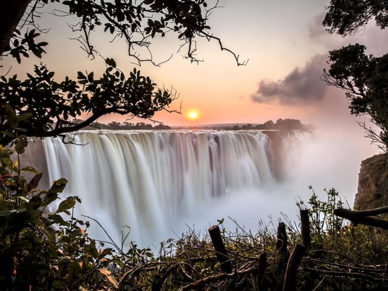Victoria falls at sunrise