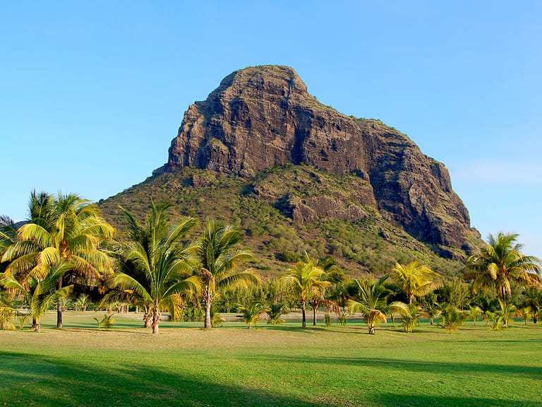 Golf course in front of Le Morne Brabant, Mauritius