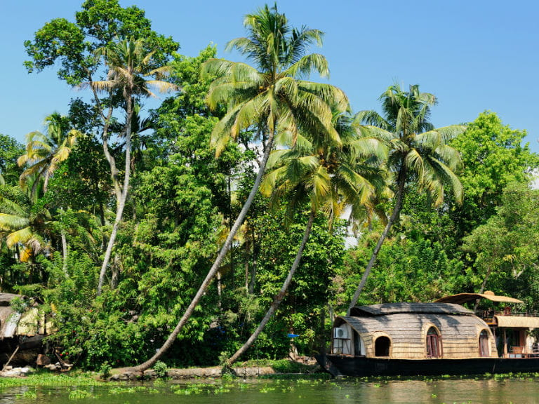 A houseboat sailing along a river in Kerala, South India