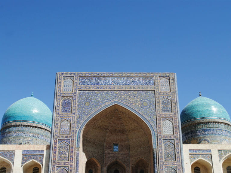 The Mir-i Arab Madrassah, part of the Islamic religious complex Po-i-Kalyan in Bukhara, Uzbekistan