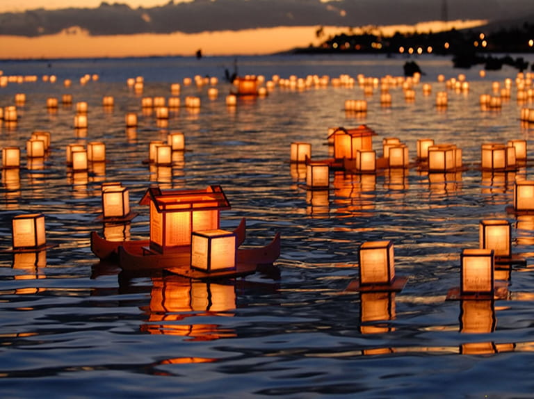 Floating lanterns at the Obon festival in Japan.