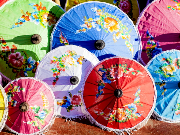 Colorful handmade umbrella's Bo Sang village, province of Chang Mai, Thailand