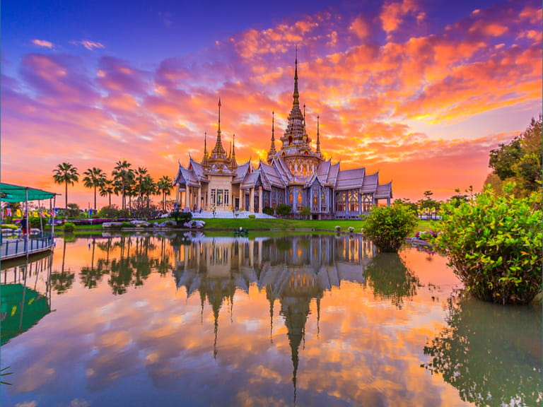 Landmark wat thai, sunset in temple at Wat None Kum in Nakhon Ratchasima province Thailand