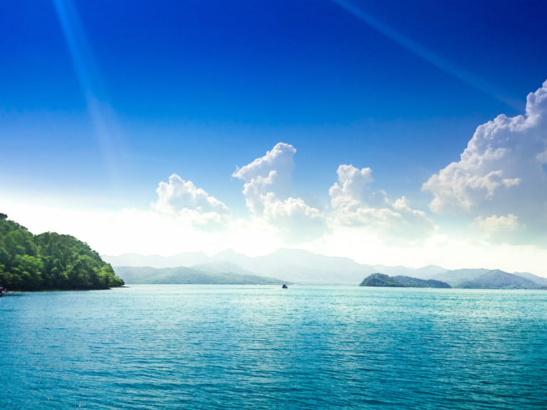 Sea view with clouds on horizon. Travel tropical island resort at ko chang island,Thailand.