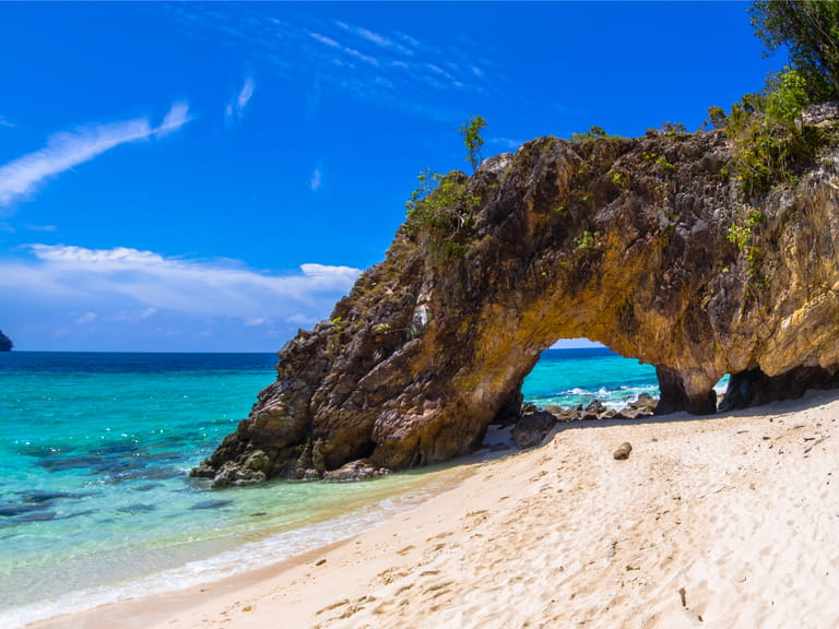 Stone arch with beautiful beach ; Koh Lipe in Satun, Thailand