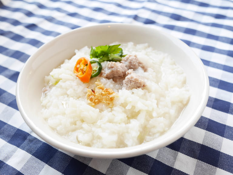 Khao Tom Moo' Thai Breakfast - Boiled Rice with Mince Pork