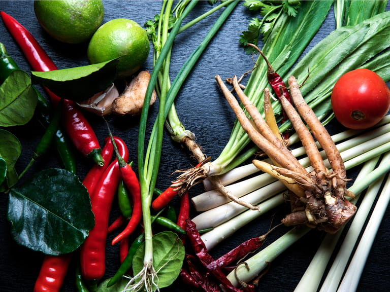 Ingredients used for Thai food, lemongrass, spring onions, ginger and chillies